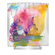 Oniric Landscape Reflections With Sun And Bird Shower Curtain