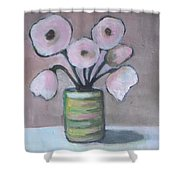 Only White Flowers Shower Curtain
