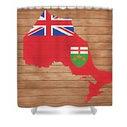 Ontario Rustic Map On Wood Shower Curtain