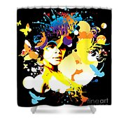 Onxy Doves - Bespattered Shower Curtain