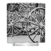 Oo Wagon Wheels Black And White Shower Curtain