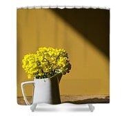 Good Morning Sunshine- Rapeseed Flowers And White Mug   Shower Curtain