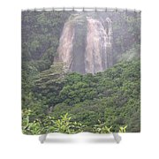 Opaekaa Falls On Kauai During A Storm Shower Curtain