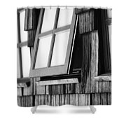 Open Black And White Shower Curtain