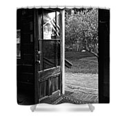 Open Door B-w Shower Curtain