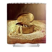 Open Jewelry Box With Pearls Shower Curtain