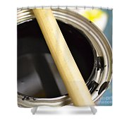 Open Paint Can With Brush Shower Curtain