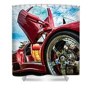 Open Sesame Red - Lamborghini Diablo  Shower Curtain