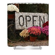 Open Sign With Flowers Fine Art Photo Shower Curtain