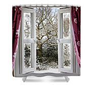 Open Window With Winter Scene Shower Curtain
