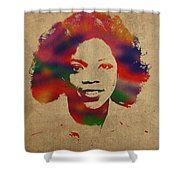 Oprah Winfrey Vintage 1978 Watercolor Portrait Shower Curtain