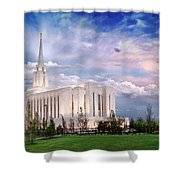 Oquirrh Mt Temple Shower Curtain by La Rae  Roberts