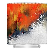 Splashes At Sunset - Orange Abstract Art Shower Curtain