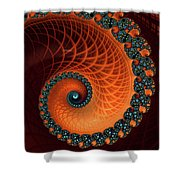 Orange And Aqua Spiral Shower Curtain