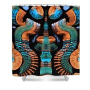 Orange And Blue Abstract 1 Shower Curtain