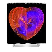 Orange And Blue Fractal Heart Shower Curtain