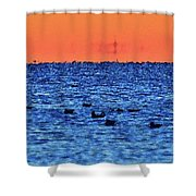 Orange And Blue Morning 4  Shower Curtain