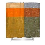 Orange And Grey Shower Curtain