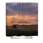 Orange And Purple Cloud Landscape Shower Curtain