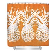 Orange And White Pineapples- Art By Linda Woods Shower Curtain