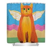 Orange Angel Cat Shower Curtain