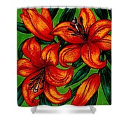 Orange Asiatics Shower Curtain