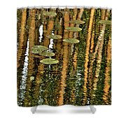 Orange Bamboo Abstract, Reflection On Water Shower Curtain