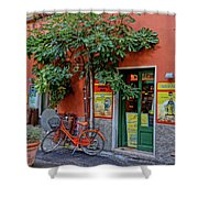 Orange Bicycle Wine Shop Monterosso Italy Dsc02584 Square Shower Curtain