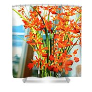 Orange Bloom Shower Curtain