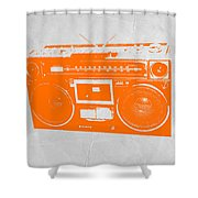 Orange Boombox Shower Curtain by Naxart Studio