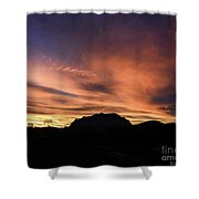 Orange Brushstrokes Over Picket Post Shower Curtain