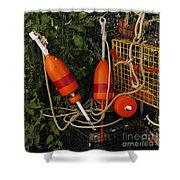 Orange Buoys, Nautical, Marblehead, Ma Shower Curtain