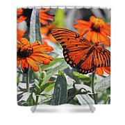 Orange Butterfly Shower Curtain