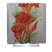 Orange Callas Shower Curtain by Karin  Dawn Kelshall- Best