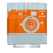 Orange Camera Shower Curtain by Naxart Studio