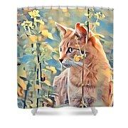 Orange Cat In Field Of Yellow Flowers Shower Curtain