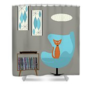Orange Cat In Turquoise Egg Chair Shower Curtain