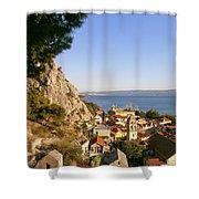 Orange Coastal Sunset Shower Curtain
