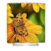 Orange Crescent Butterfly Shower Curtain
