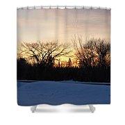Orange Dawn Sky Behind Trees Shower Curtain