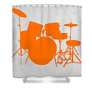 Orange Drum Set Shower Curtain by Naxart Studio