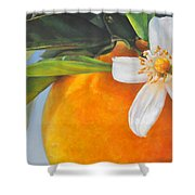 Orange En Fleurs Shower Curtain