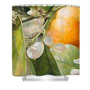 Orange Fleurie Shower Curtain