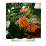 Orange Flower Abstract Shower Curtain