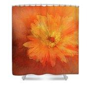 Orange Flower Energy Shower Curtain