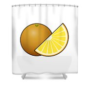 Orange Fruit Outlined Shower Curtain