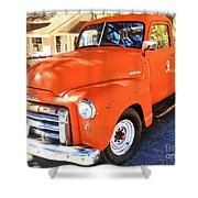 Orange Gmc Pickup Truck In Idyllwild Shower Curtain