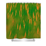 Orange Grass Spikes Shower Curtain
