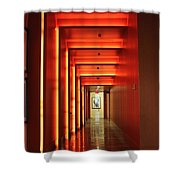 Orange Hallway Shower Curtain