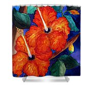 Orange Hibiscus Shower Curtain by Lil Taylor